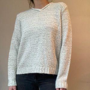 Light Gray Boxy Knit V-Neck Sweater